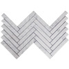 "Carrara White Italian Marble 1"" x 6"" Herringbone Mosaic Tile Polished"