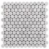 Carrara White Italian Marble Penny Round Mosaic Tile Honed