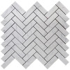 "Italian Carrara White Marble 1"" x 3"" Herringbone Mosaic Tile Polished"