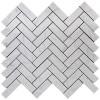 """Italian Carrara White Marble 1"""" x 3"""" Herringbone Mosaic Tile Polished"""
