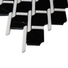 Black Marble Rope Design with White Dolomite Strips Mosaic Tile Polished