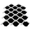 Black Marble Rope Design with Bianco Dolomite Strips Mosaic Tile Polished