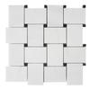 Dolomiti White Marble Italian Bianco Dolomite Large Basketweave Mosaic Tile with Nero Marquina Black  Dots Polished