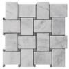 Italian White Carrera Marble Bianco Carrara Basketweave Mosaic Tile with Bardiglio Gray Dots Honed