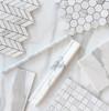 Calacatta Gold Italian Marble 1x1 Mosaic Tile  Honed