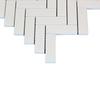 White Marble Italian Bianco Dolomite 1 inch x 3 inch Herringbone Mosaic Tile Polished