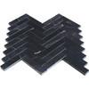 1x4 Nero Marquina Black Marble Herringbone Mosaic Tile Polished