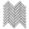 """Carrara White Italian Marble 1"""" x 4"""" Herringbone Mosaic Tile Polished"""