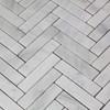 """Carrara White1"""" x 4""""  Italian Marble Herringbone Mosaic Tile Polished"""