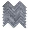 "Bardiglio Gray Marble 1"" x 4"" Herringbone Mosaic Tile Honed"