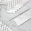 "Carrara White Italian Marble 4"" x 12"" Bullnose Subway Tile Honed"