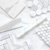 """Calacatta Gold Italian Marble 1"""" x 2"""" Herringbone Mosaic Tile Polished"""