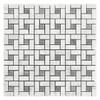 Carrara White Italian Marble Target Pinwheel Mosaic Tile with Bardiglio Gray Dots Polished