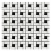 Bianco Dolomite Marble Target Pinwheel Mosaic Tile with Nero Marquina Black Dots Polished
