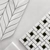 Polished Bianco Dolomite Marble Target Pinwheel Mosaic Tile with Nero Marquina Black Dots