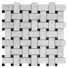 Italian Carrara White Marble Basketweave Mosaic Tile with Nero Marquina Black Dots Polished