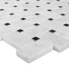 Italian White Carrera Marble Bianco Carrara Basketweave Mosaic Tile with Nero Marquina Black Dots Polished