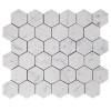 "Italian White Carrera Marble Bianco Carrara 2"" Hexagon Mosaic Tile Honed"