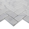 "Italian White Carrera Marble Bianco Carrara Herringbone 1""x2"" Mosaic Tile Honed"