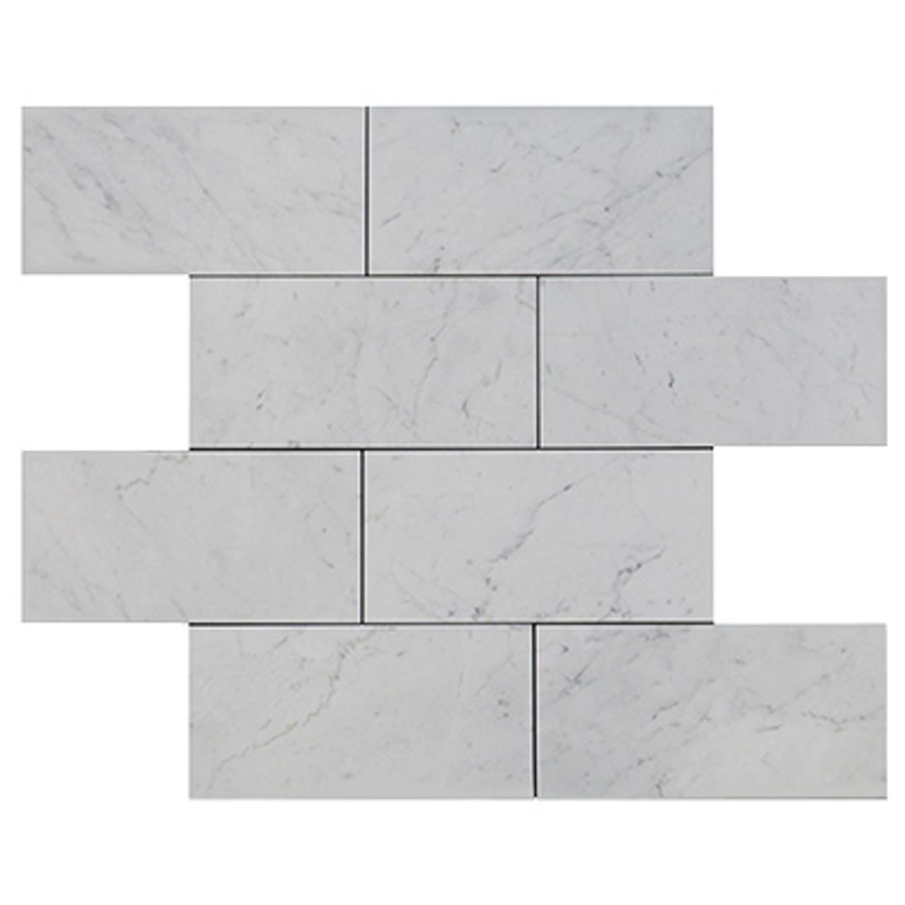 Bianco Carrara Polished Marble 12 x 12 Tile White Carrera
