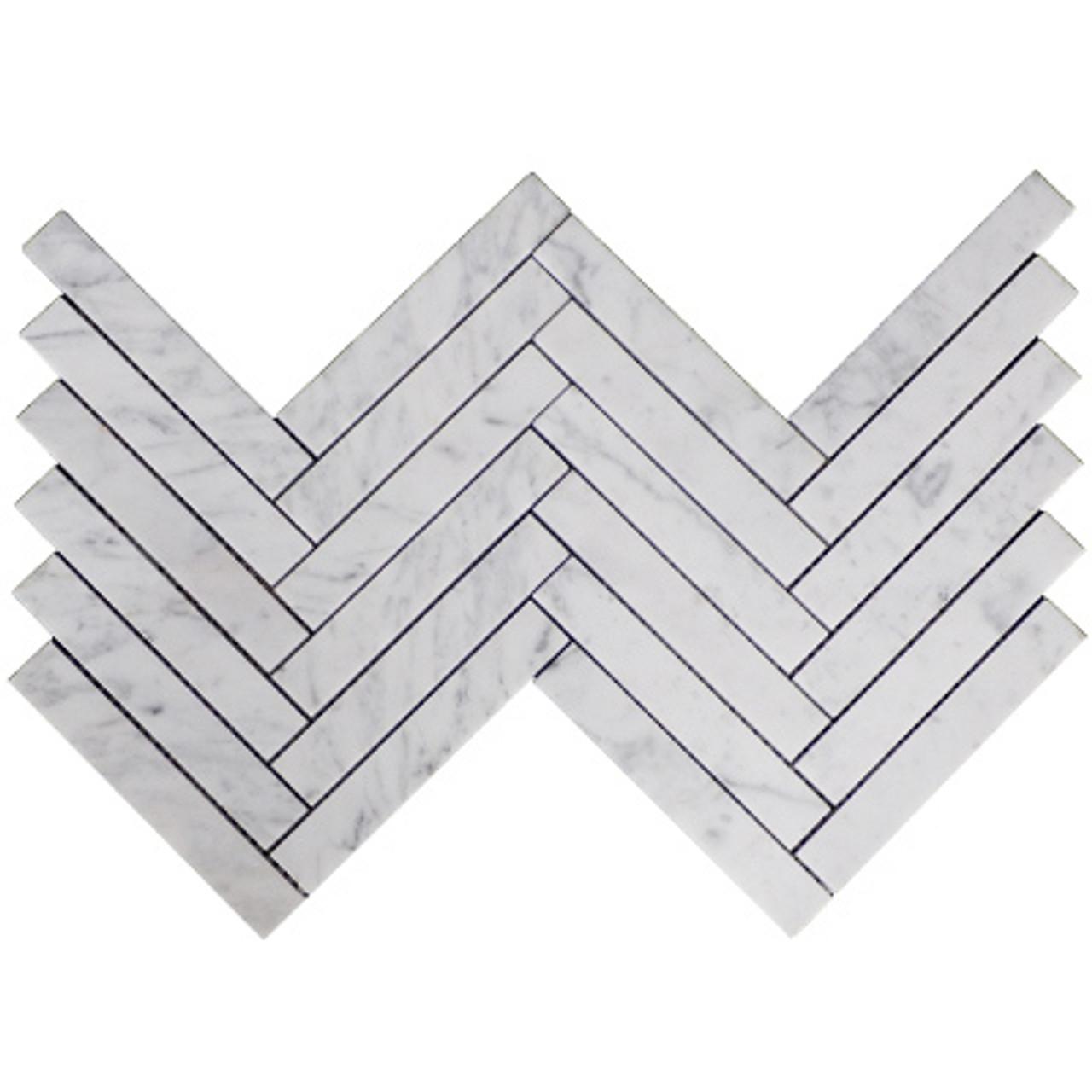 1 X 6 Carrara White Herringbone Mosaic Tile Honed