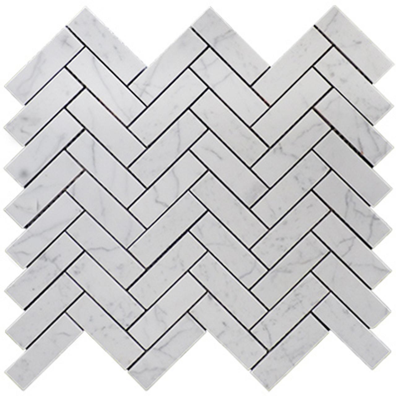 1 X 3 Carrara Marble Herringbone Mosaic Tile Honed