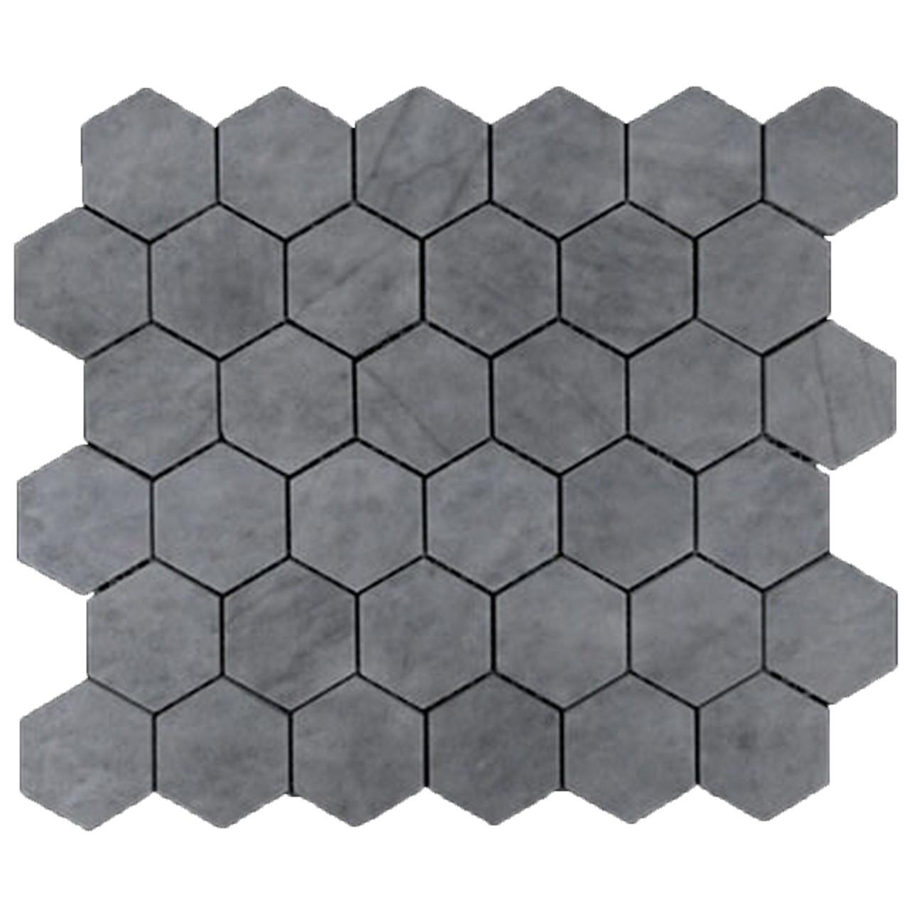 Bardiglio Gray Marble 2 Hexagon Mosaic Tile Polished