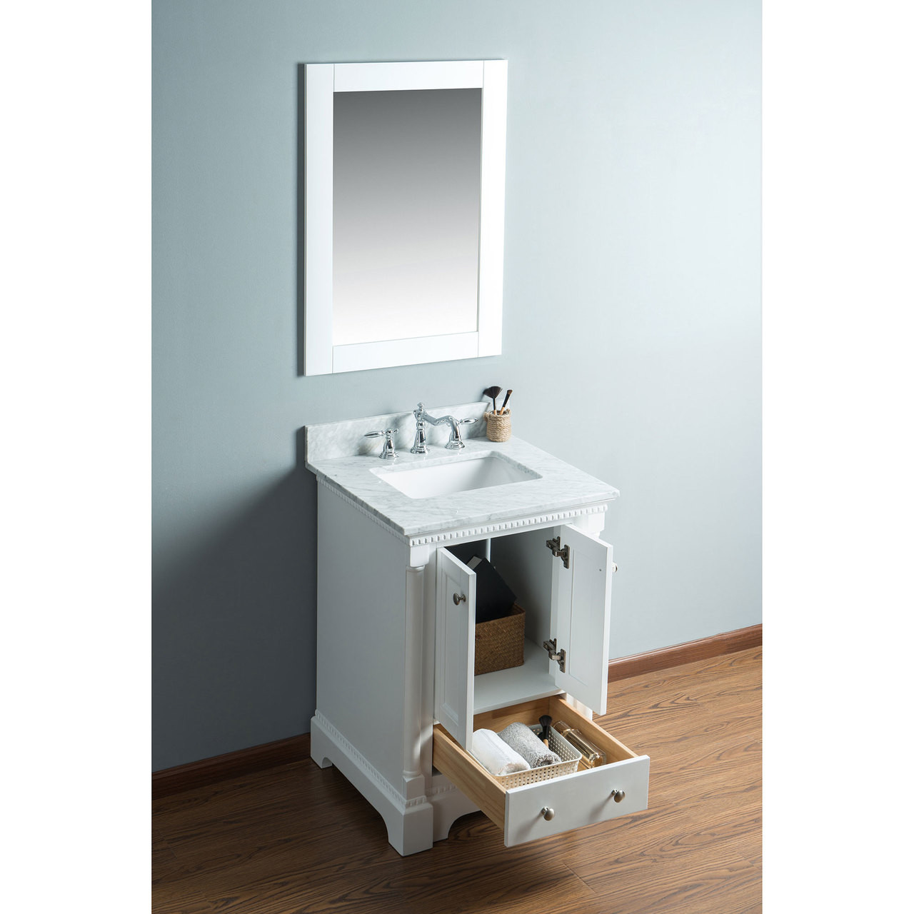 Picture of: Olivia 24 In Single Bathroom Vanity In White With Carrera Marble Top Carraramarble