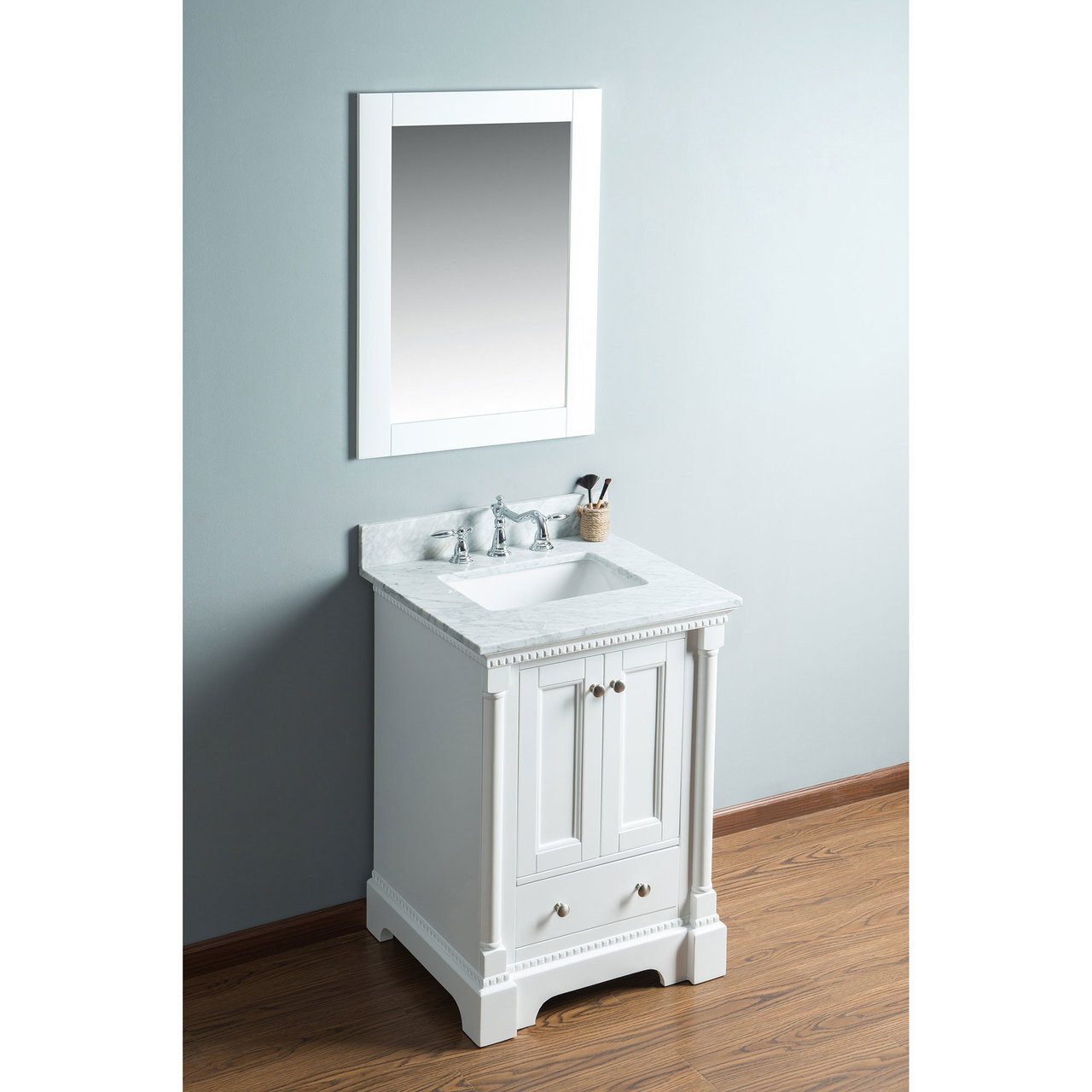 Olivia 24 In Single Bathroom Vanity In White With Carrera Marble Top Carraramarble