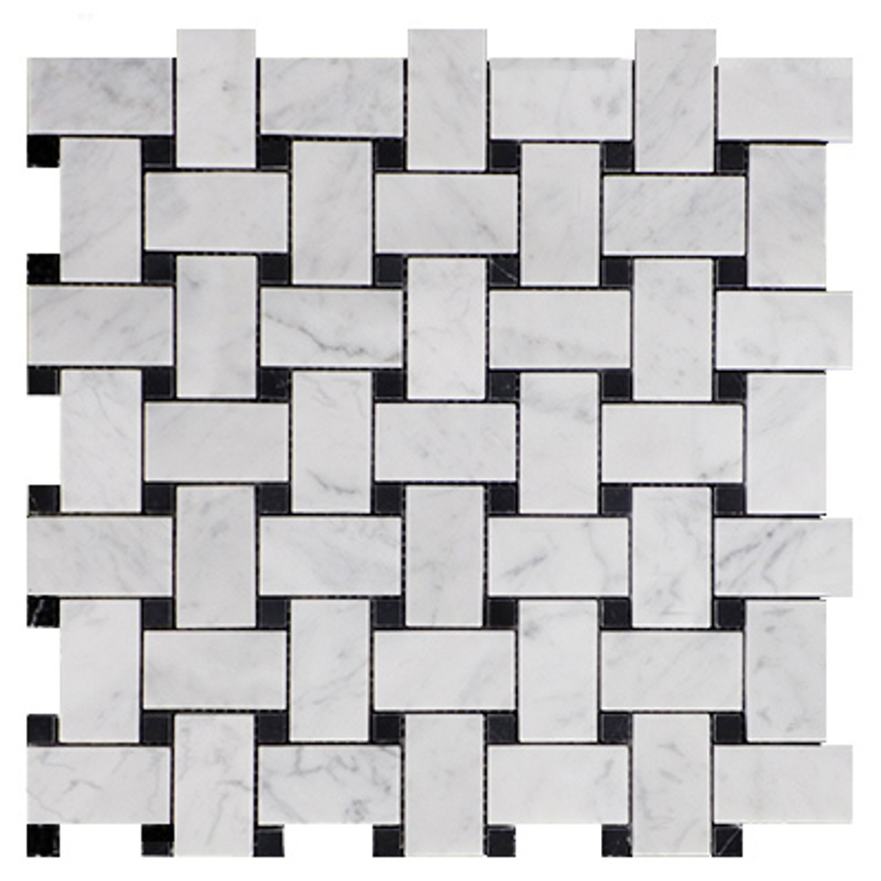 Carrara Marble Basketweave Mosaic With Black Dot Honed