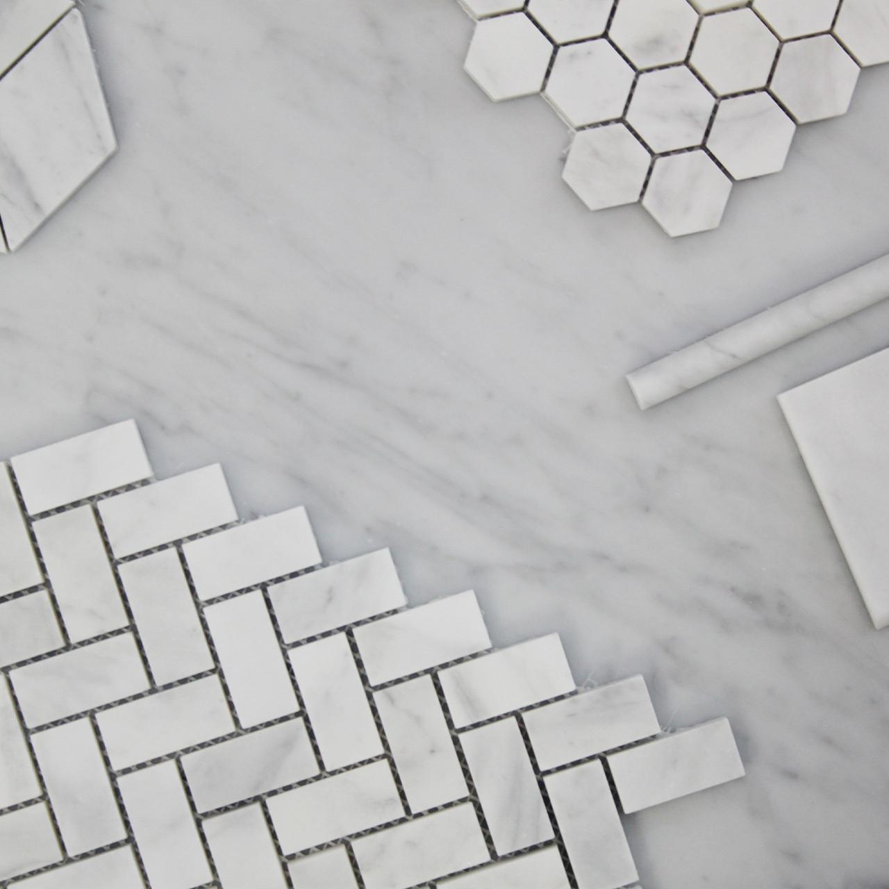 1 X 2 Carrara Marble Herringbone Mosaic Tile Honed
