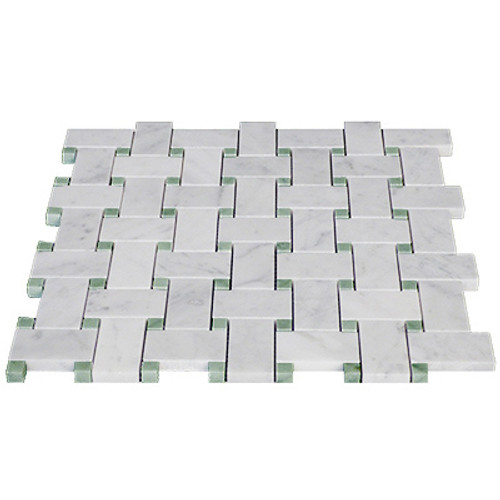 Italian White Carrera Marble Bianco Carrara Basketweave Mosaic Tile with Green Dots Polished