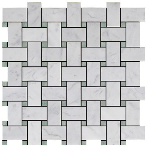 Italian White Carrera Marble Bianco Carrara Basketweave Mosaic Tile with Green Dots Honed