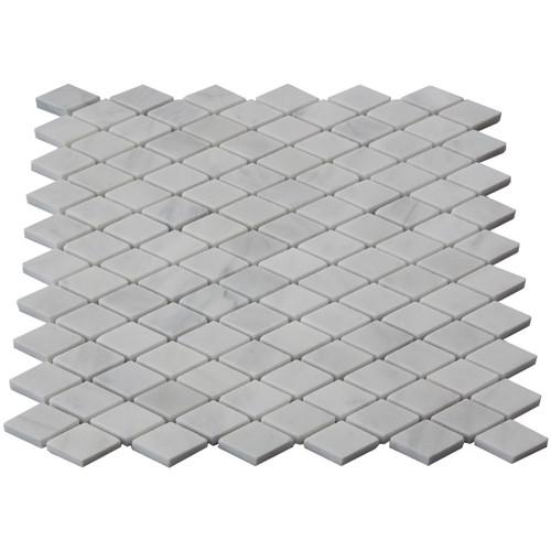 Italian White Carrera Marble Bianco Carrara Diamond Mosaic Tile Polished
