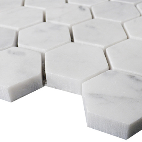 "Italian Carrara White Marble 1"" Hexagon Mosaic Tile Polished"