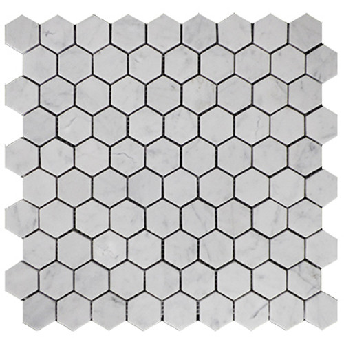 "Italian White Carrera Marble Bianco Carrara 1"" Hexagon Mosaic Tile Honed"
