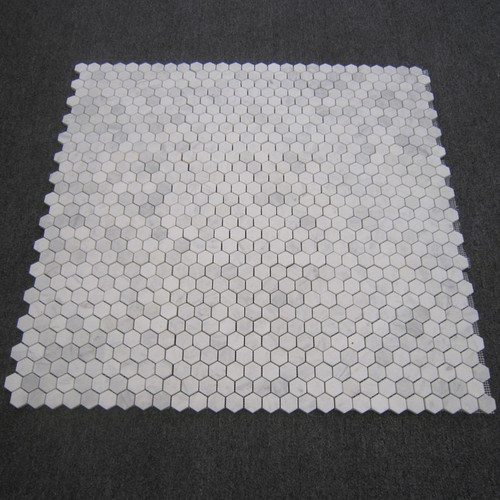 "Italian White Carrera Marble Bianco Carrara 1"" Hexagon Mosaic Tile Honed"