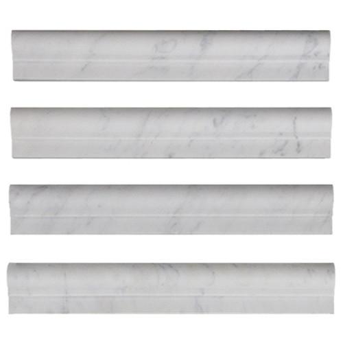 Italian White Carrera Marble Bianco Carrara Ogee 1 Chairrail Molding Honed