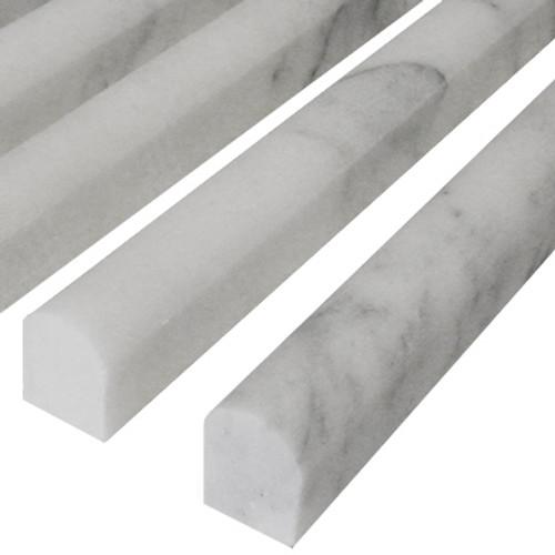 Italian White Carrera Marble Bianco Carrara Bullnose Pencil Molding Honed