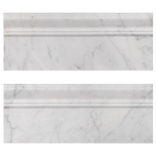 "Italian White Carrera Marble Bianco Carrara 3/4"" Baseboard Molding Polished"