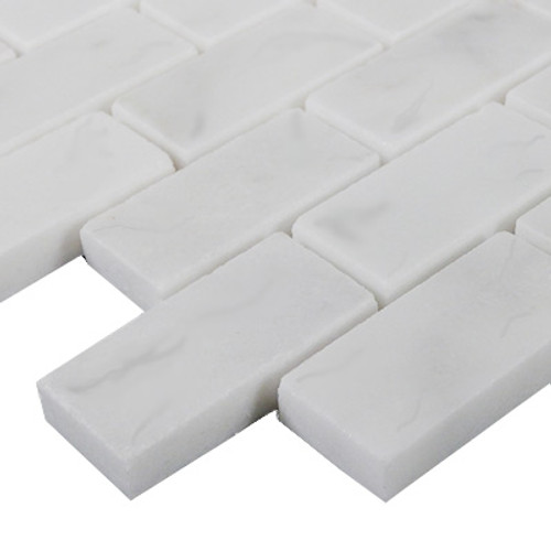 Italian White Carrera Marble Bianco Carrara 1x2 Mosaic Tile Polished