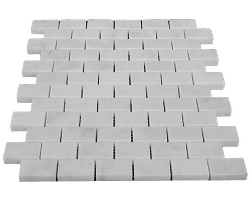 Italian White Carrera Marble Bianco Carrara 1x2 Mosaic Tile Polished