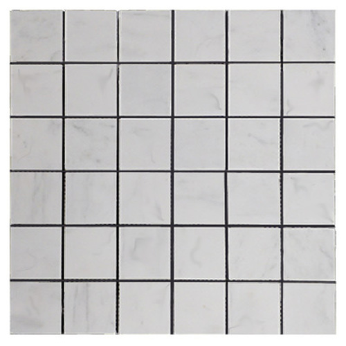 Italian White Carrera Marble Bianco Carrara 2x2 Mosaic Tile Polished