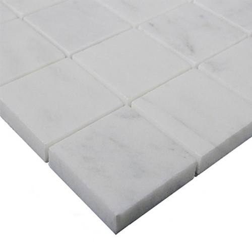 Italian White Carrera Marble Bianco Carrara 2x2 Mosaic Tile Polished