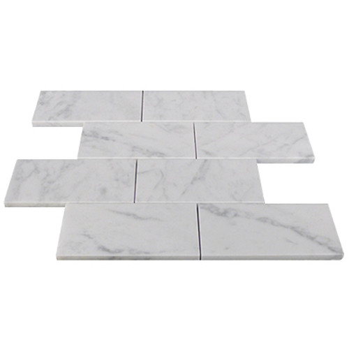 Italian White Carrera Marble Bianco Carrara 3x6 Marble Subway Tile Honed