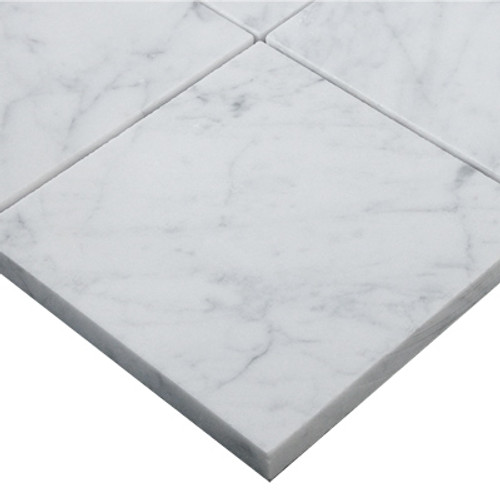Italian White Carrera Marble Bianco Carrara 6x6 Marble Tile Polished