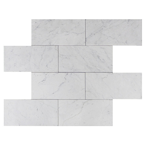 "Italian Carrara White Marble 6"" x 12"" Subway Tile Polished"