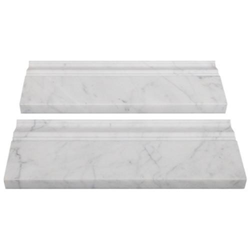 Italian White Carrera Marble Bianco Carrara Baseboard Molding Honed