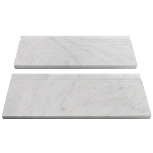 "Italian White Carrera Marble Bianco Carrara 5/8"" Baseboard Molding Honed"