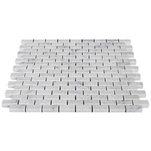 Italian White Carrera Marble Bianco Carrara Mini Brick Mosaic Tile Polished